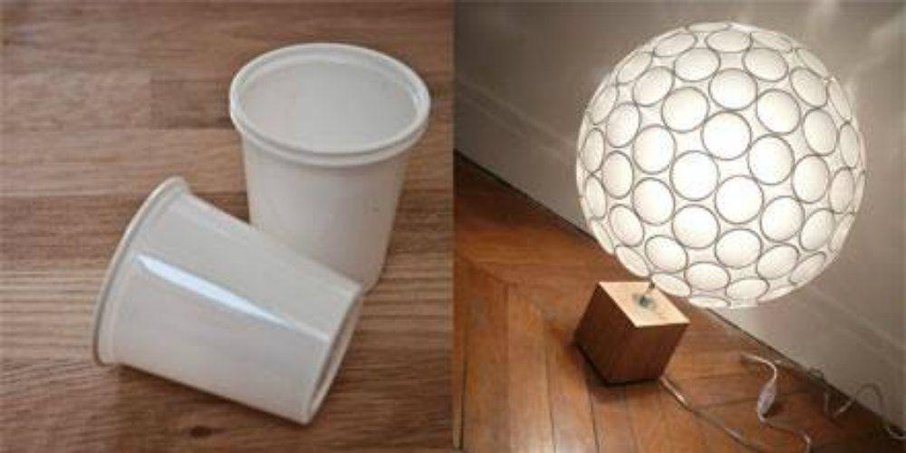 fabriquer une lampe originale avec des gobelets lampe. Black Bedroom Furniture Sets. Home Design Ideas