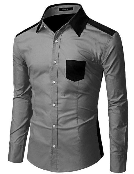 dad9184e52b Men s Long Sleeve Color Block Dress Shirt - Doublju  doublju  mensfashion   menswear