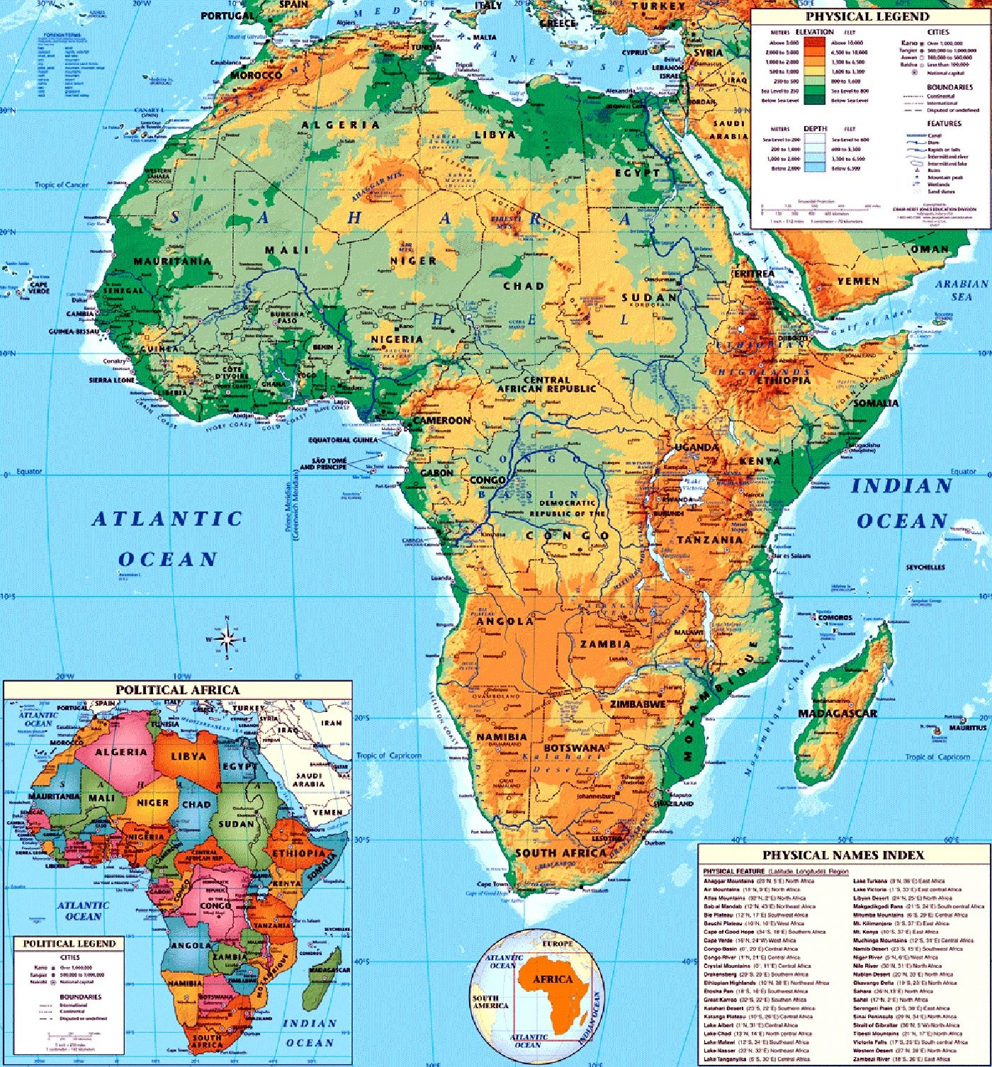 physical map of africa large size detailed Africa Pinterest Walls