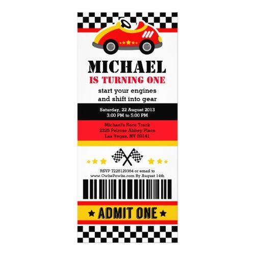 Race Car Ticket Pass Birthday Party Invitation | Zazzle.com