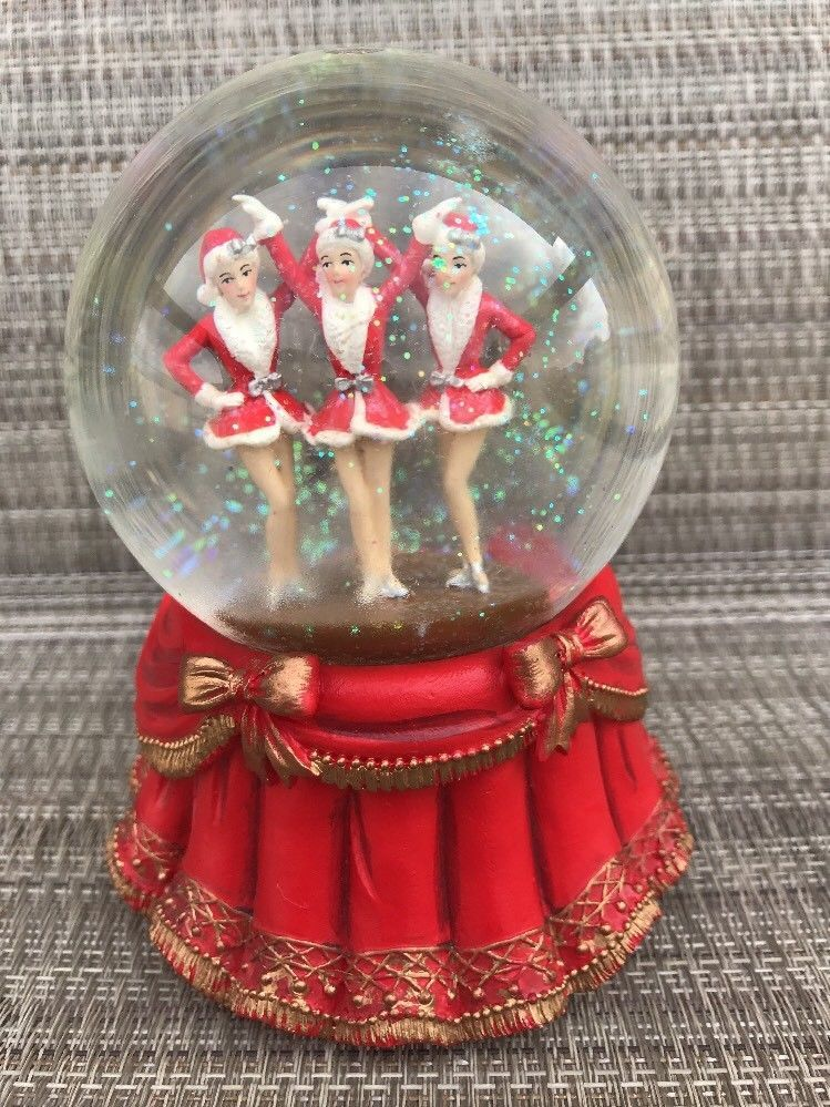 Rare Vintage RADIO CITY The Rockettes Glass Christmas Snow