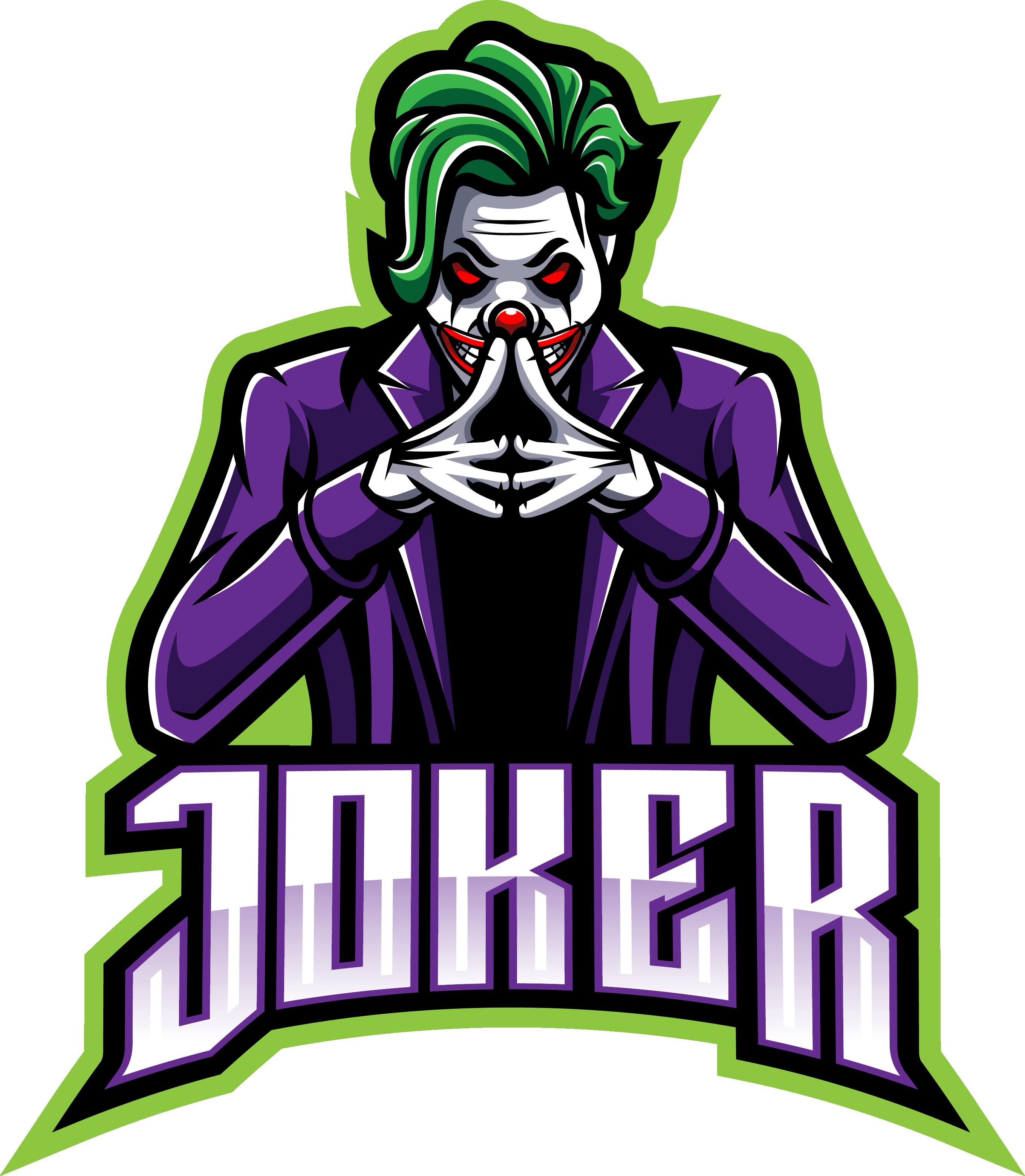 Joker Esport Mascot Logo Design By Visink Thehungryjpeg Com In 2020 Joker Logo Logo Design Art Team Logo Design