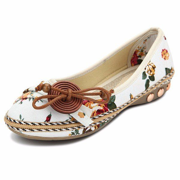 90cc5b94f Bowknot Button Flower Small Wooden Decoration Slip On Flat Loafers ...