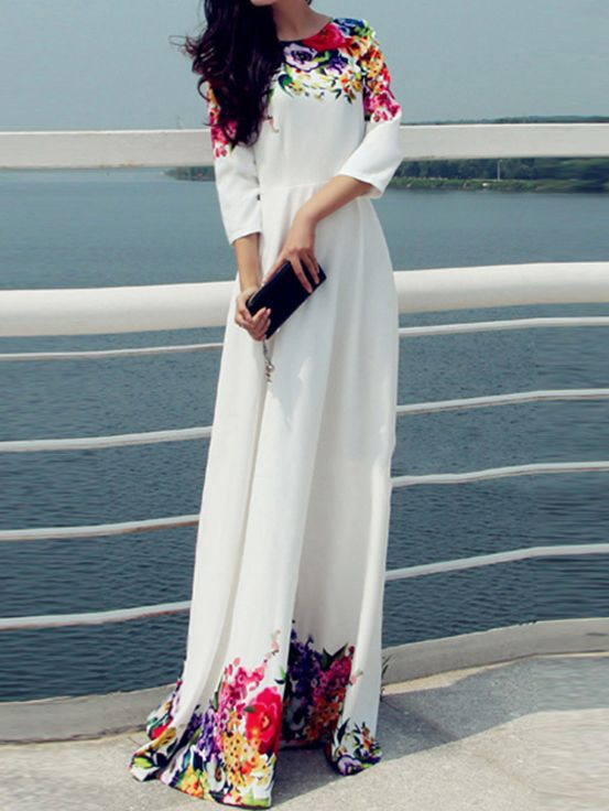 30ca7291769fd Shop White Round Neck Florals Maxi Dress online. SheIn offers White Round  Neck Florals Maxi Dress & more to fit your fashionable needs.