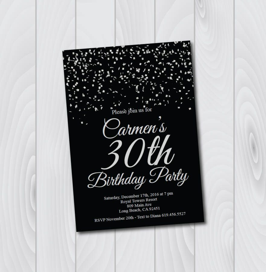 30th Birthday Invitation Printable Silver Black Birthday Etsy Printable Birthday Invitations 21st Birthday Invitations Invitation Template