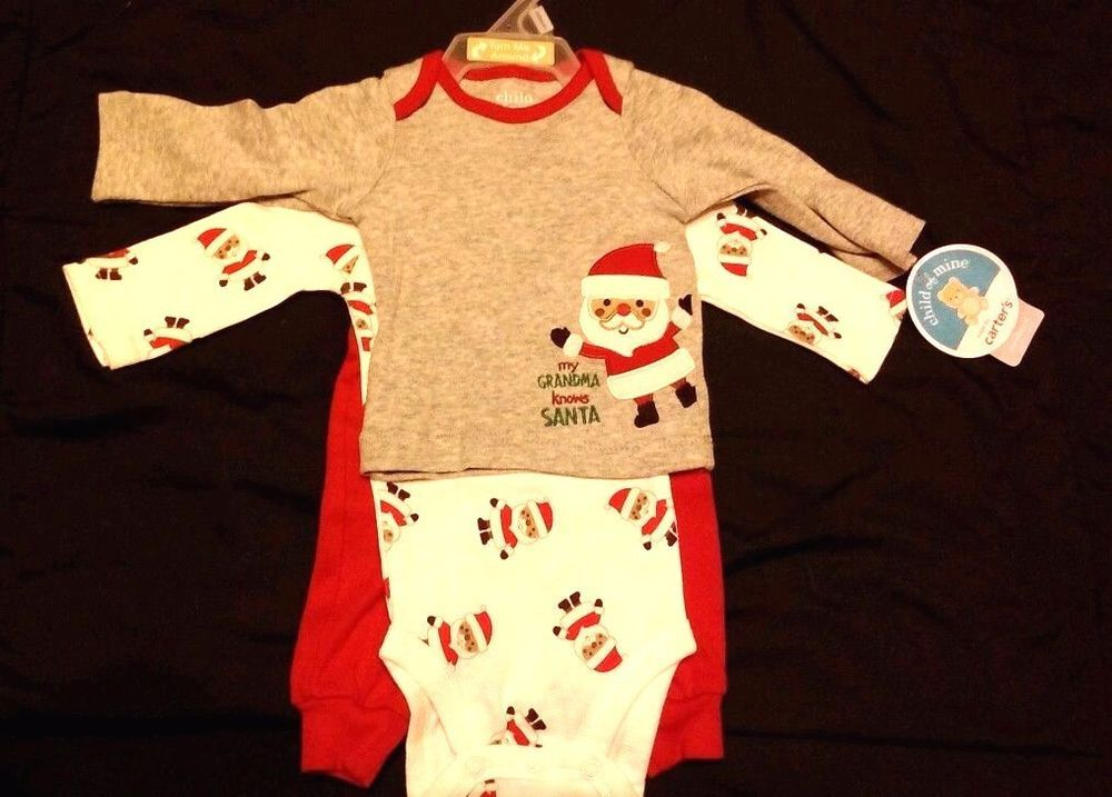 e100e3931 Carter's Santa Claus 3 pc embroidered unisex outfit Newborn infant New # Carters #Holiday #baby #outfit #babyclothing #shopping #eBay