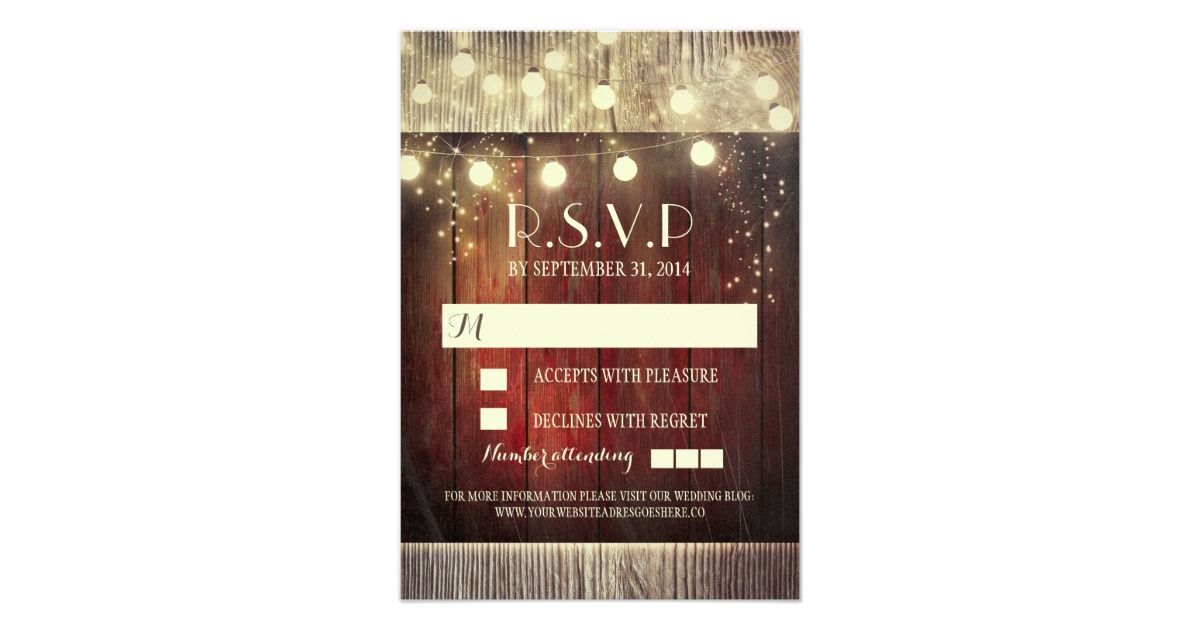 Rustic country string lights wedding RSVP cards Country Wedding Invitations, Custom Country Wedding Invitations