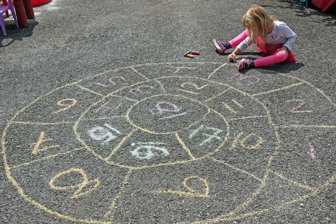 This was my favorite game as a girl. We called it English Hopscotch, as we were introduced to it by the British girl who moved in next door when I was 11. Our spirals were like 40 spaces around! You have to hop on one foot without touching a line or stopping all the way to the center and back again, and then you can claim a space as a resting spot. It ended when all the spaces were claimed and added up to see who had the most. Kudos to my mom for doing this as a 40 year old!