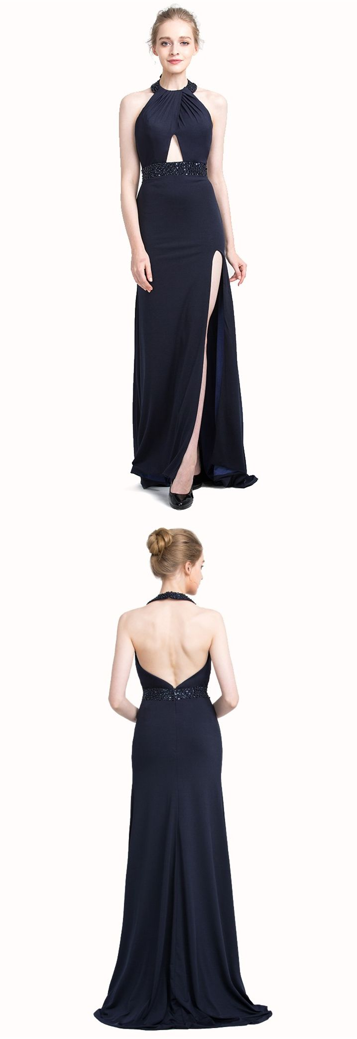 Sheath navy blue halter keyhole backless sweep train prom dress with