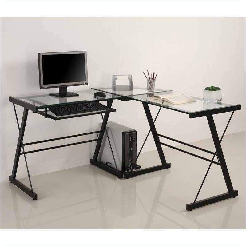 L Shape Clear Glass Computer Desk With Black Metal Frame Home