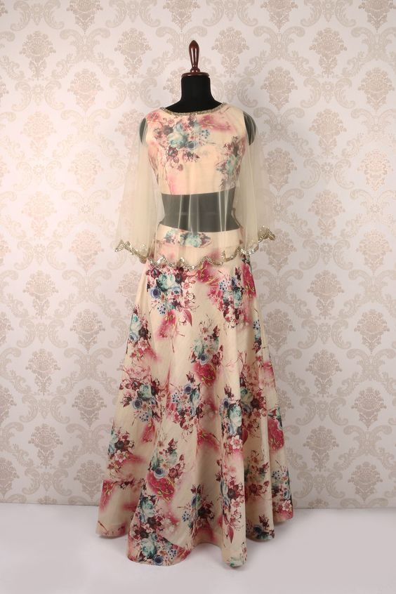 Floral Lehenga Crop Top With Cape Floral Lehenga Indian Attire Indian Outfits