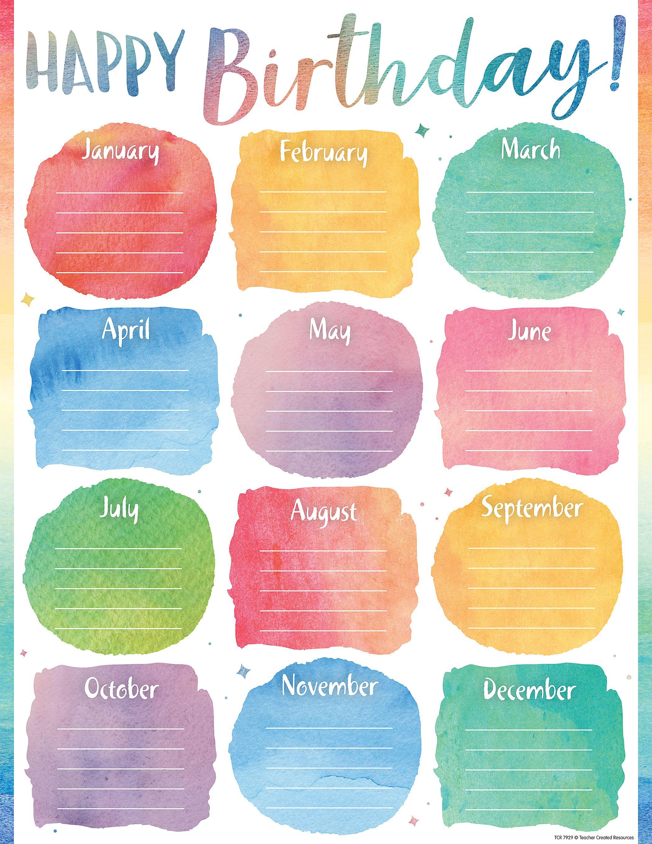 Watercolor Happy Birthday Chart Birthday Chart Classroom Birthday Charts Classroom Birthday