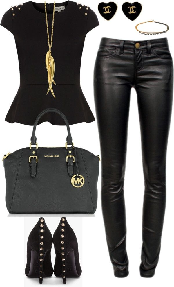 21 Sexy Leather Looks (for Winter). Black Black And Gold Outfit ... c5bd76f6c