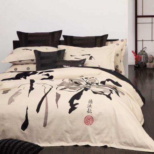 Logan And Mason Shoji Linen Oriental King Size Bed Doona Duvet Quilt Cover Set Quilt Cover Sets Quilted Duvet Quilt Cover