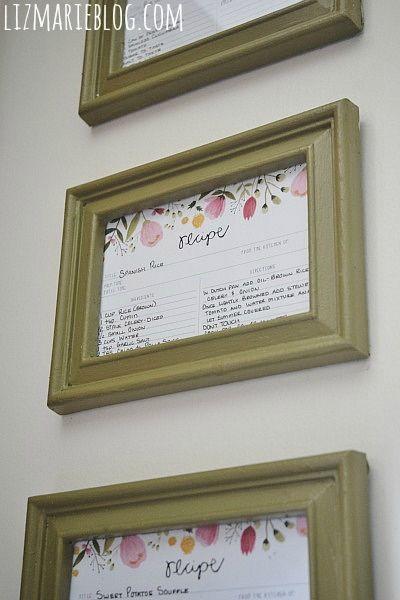 DIY Framed Recipe Cards   Framed recipes, Diy frame and Recipe cards