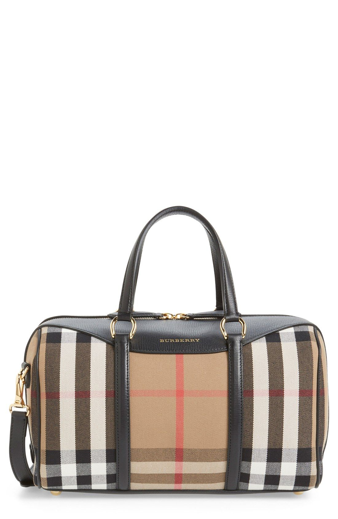 In love with this Burberry satchel in the classic check print and trimmed  with leather for a sleek and sophisticated look. 456ca2c6b7