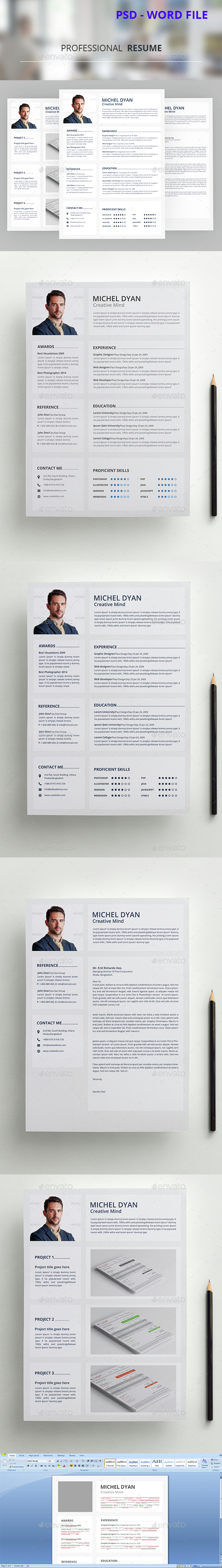 Professional Resume Template PSD. Download here: http://graphicriver ...