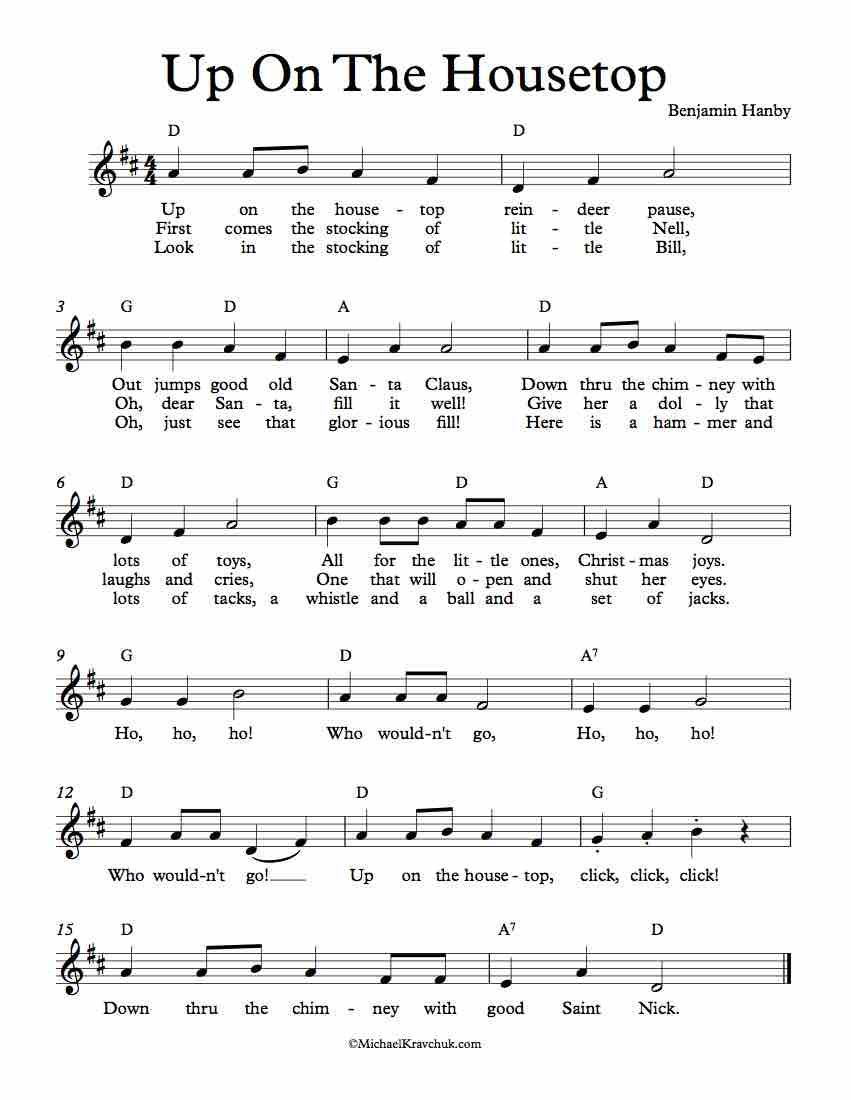 Free Lead Sheet Music – Up On The Housetop - Christmas in 2019 | Piano sheet music, Christmas ...