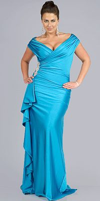 Teal Plus Size Evening Dresses