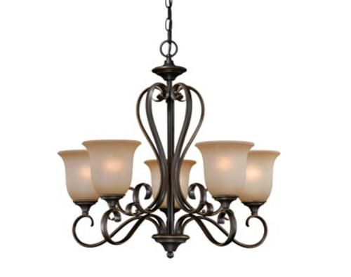 Mavis 5 light 24 75 oil brushed bronze with gold accent chandelier at menards