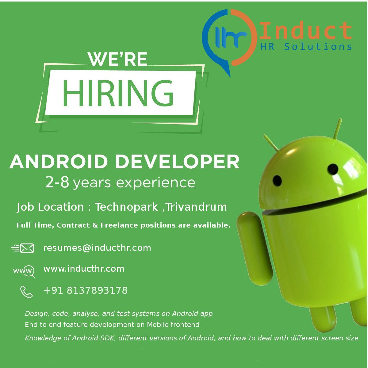 Hiring android developers in trivandrum android