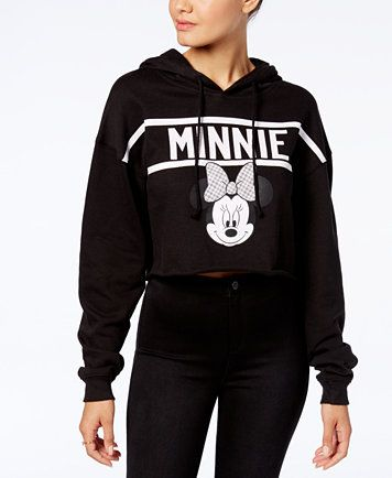 56744441c7c9e Disney Juniors  Minnie Mouse Cropped Graphic Hoodie