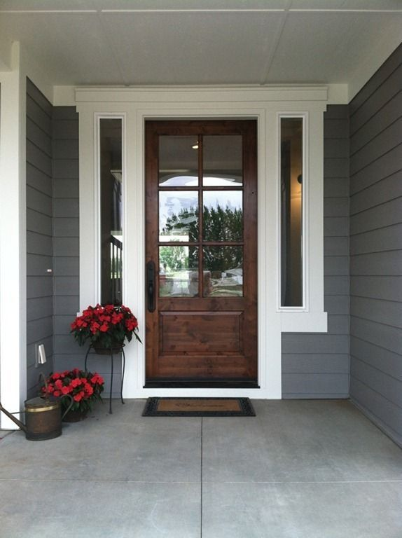 Image Result For Gray Siding White Trim Brown Doors House Paint