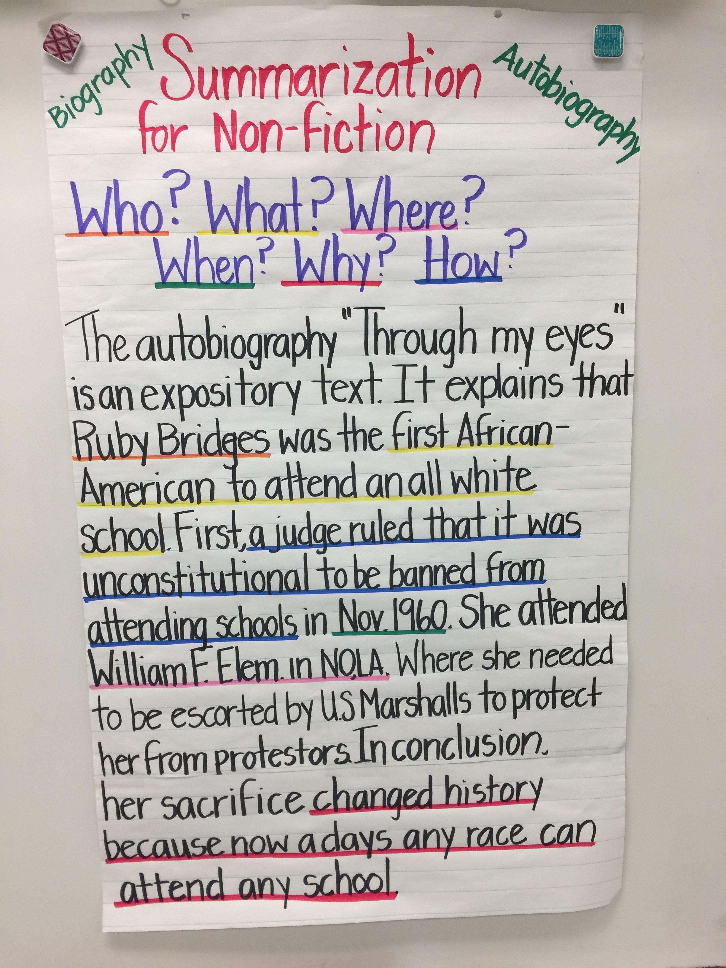 Summarizing For Non Fiction Biographies Etc Summarizing Nonfiction Teaching Nonfiction Nonfiction Anchor Chart [ 3264 x 2448 Pixel ]