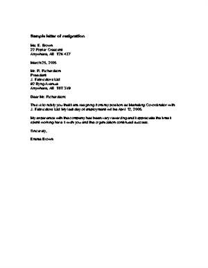 Resignation Letter Best  Resignation Letter For Personal Reasons
