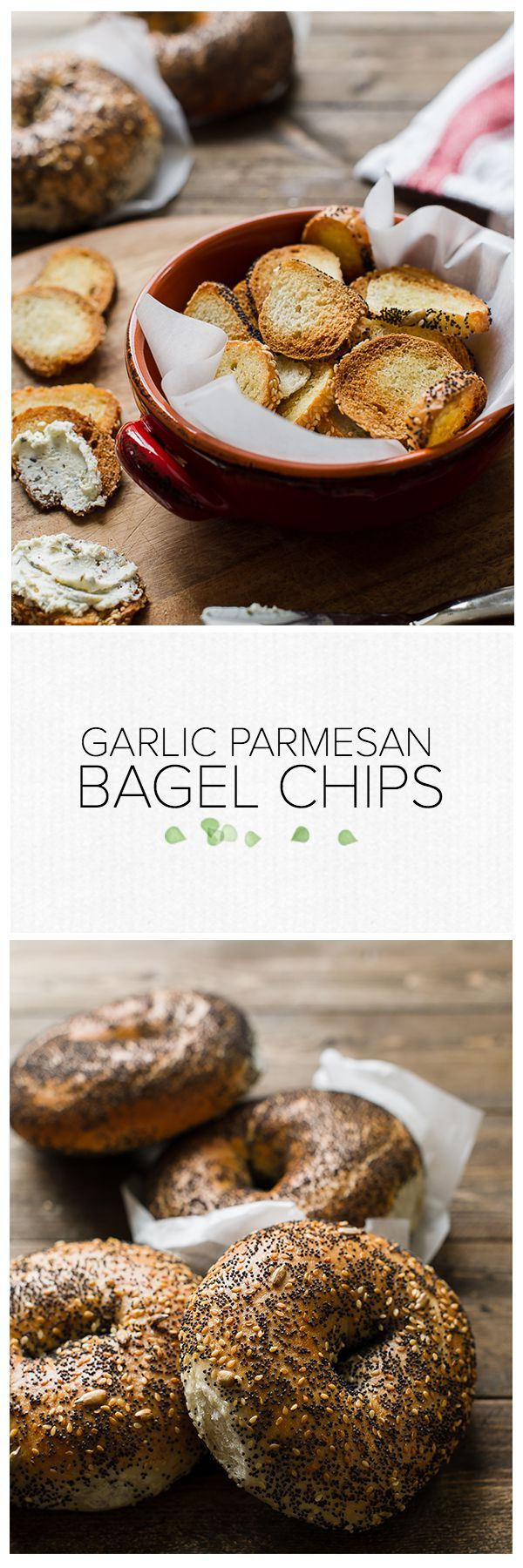 Garlic Parmesan Bagel Chips | www.kitchenconfidante.com  Extra bagels? A little stale, maybe? Transform them into your favorite crunchy snack!