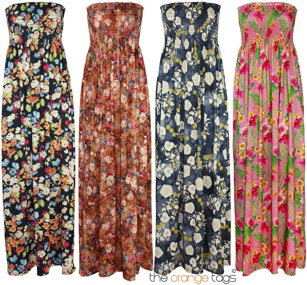 LONG MAXI DRESS WOMENS FLORAL PRINT SUMMER MAXI EVENING DRESS ...
