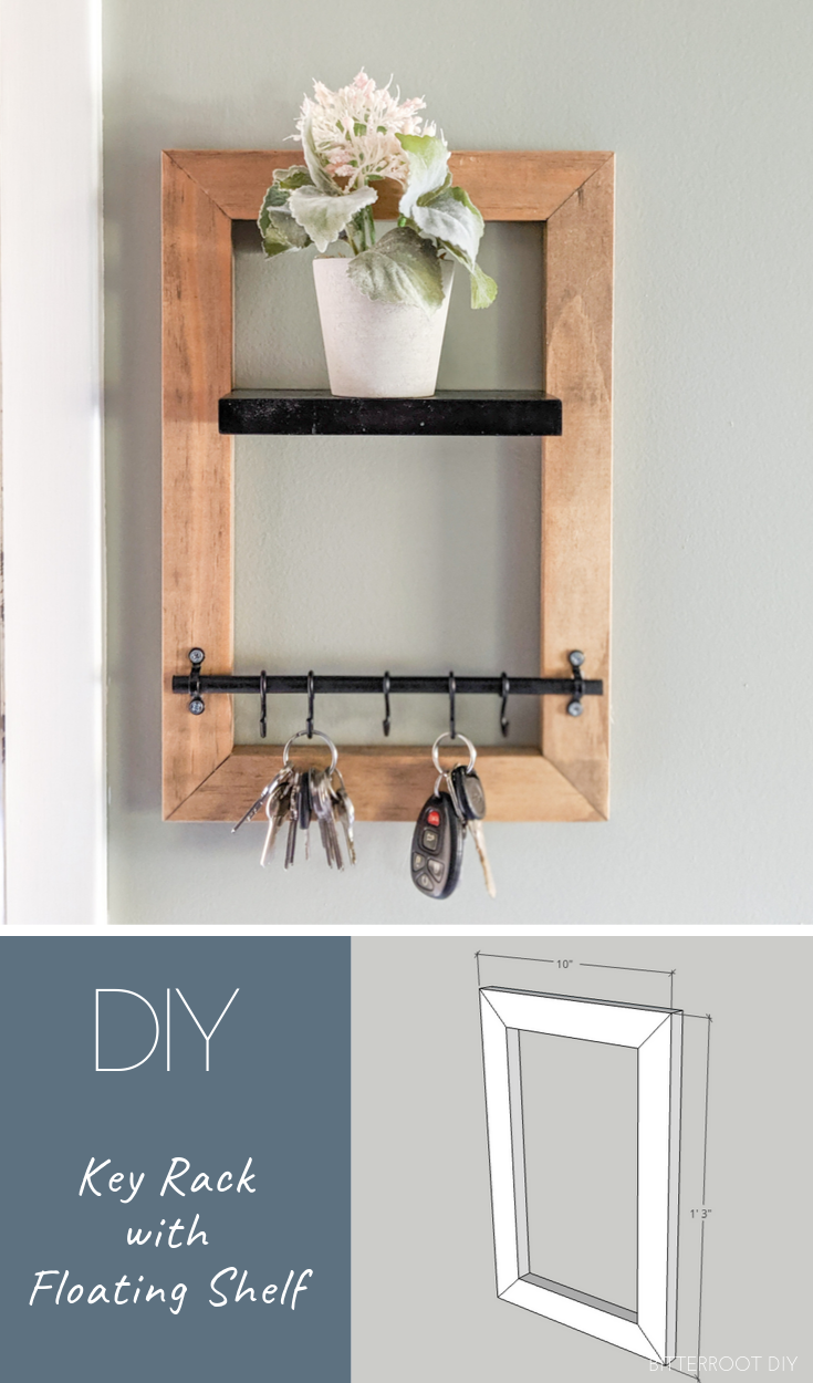 Diy Key Holder With Floating Shelf In 2020 Key Holder Diy Floating Shelves Diy Floating Shelves
