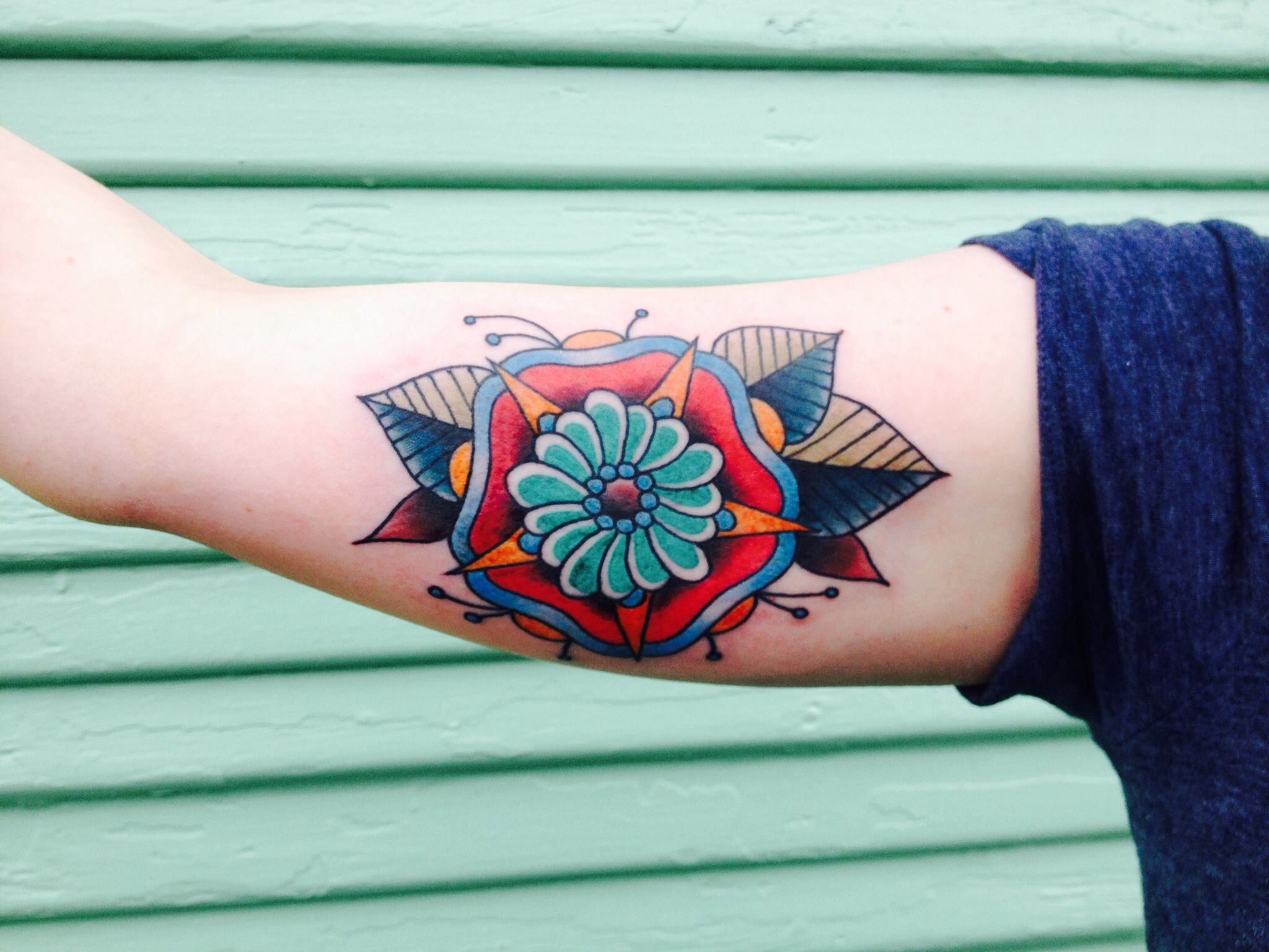 My traditional flower mandala done by Alana Robbie Freaks and Geeks Tattoo