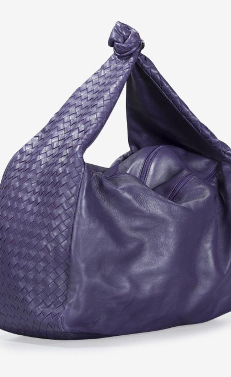 b12d1f0de8 Bottega Veneta Bottega Veneta Purple Nappa Intrecciato Knot Hobo Bag ...