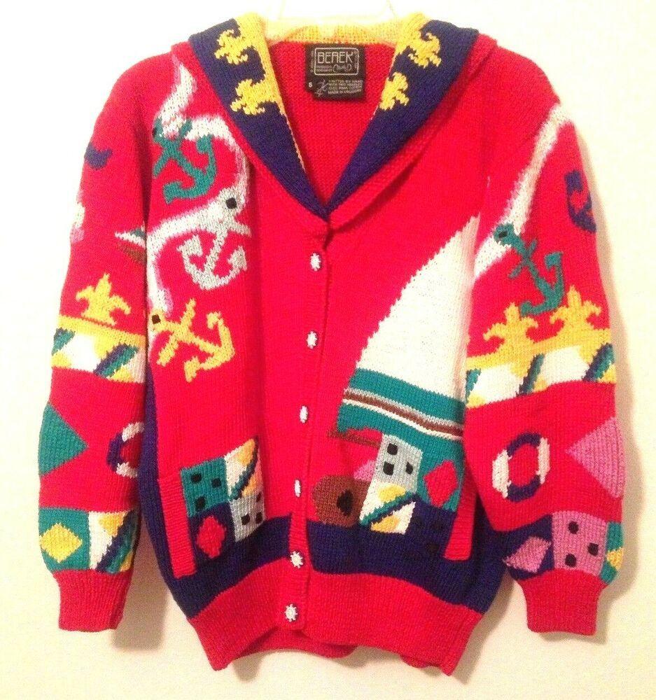 9841937398688 Berek Sweater 1989 Hand Knit Sailing Sail Boat S Marta D Vintage Novelty