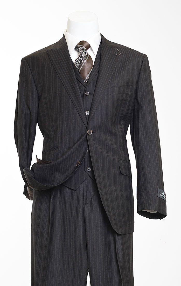 Steve Harvey Sartor Design Black Pinstripe 3 Piece Suit