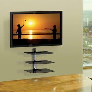 tv wall bracket with glass shelves http epochjournal org rh pinterest com wall mounted tv bracket with shelves