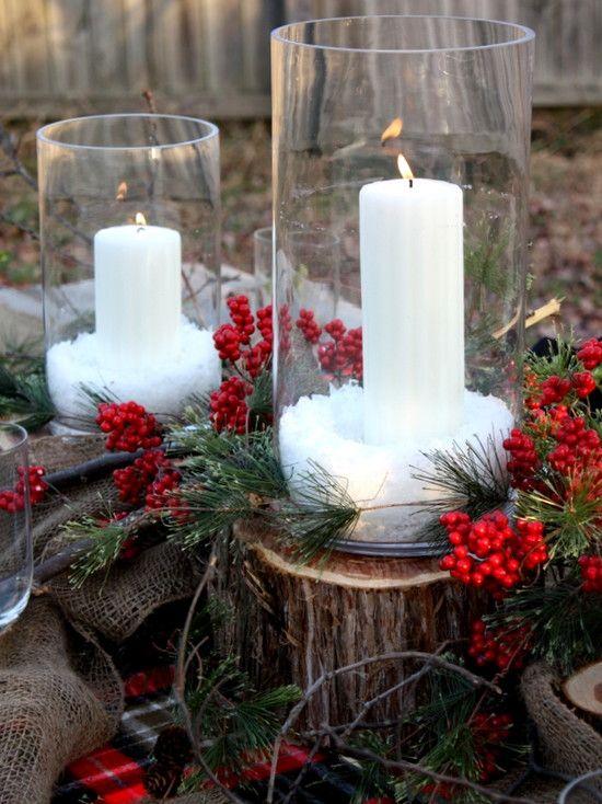 Decoração De Natal Com Tronco De Árvore E Velasfotografia Http Best Dining Room Centerpiece Ideas Candles 2018