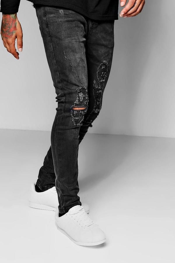 de3a9279 Charcoal Wash Skinny Fit Distressed Jeans in 2019 | Jeans ...