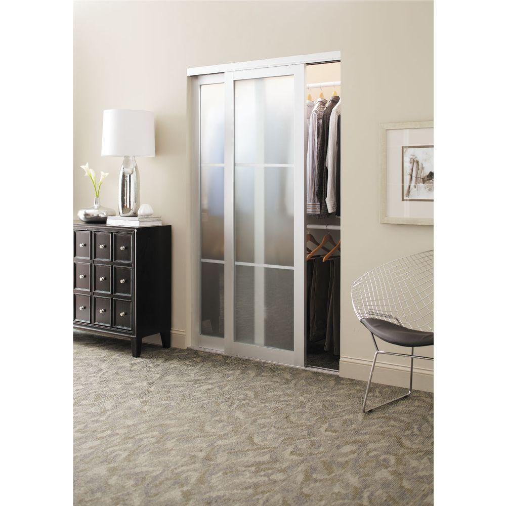 Contractors Wardrobe 84 In X 81 In Eclipse 3 Lite Mystique Glass Satin Clear Finish Aluminum I Sliding Doors Interior Contractors Wardrobe Glass Closet Doors