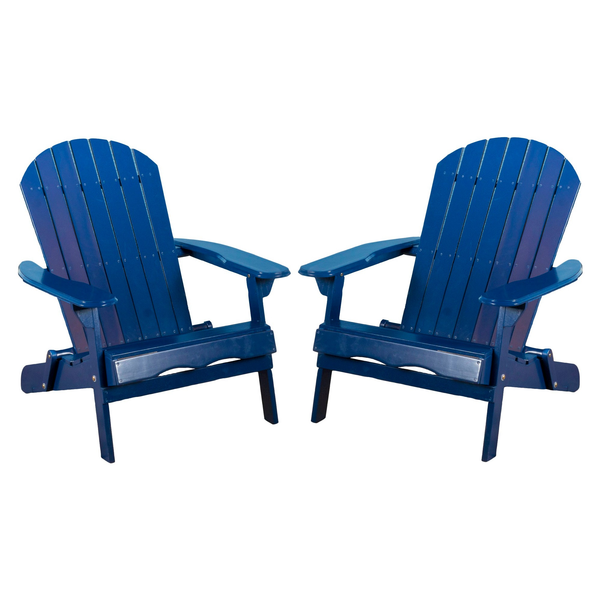 Elegant Hanlee Set Of 2 Folding Wood Adirondack Chair   Navy Blue   Christopher  Knight Home