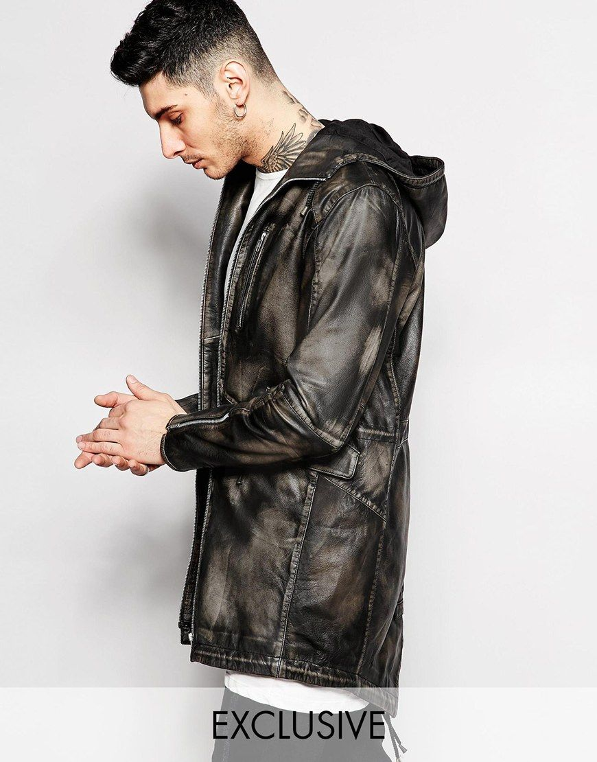 Parka by Black Dust Real leather Burnished finish Hooded neck Zip ...