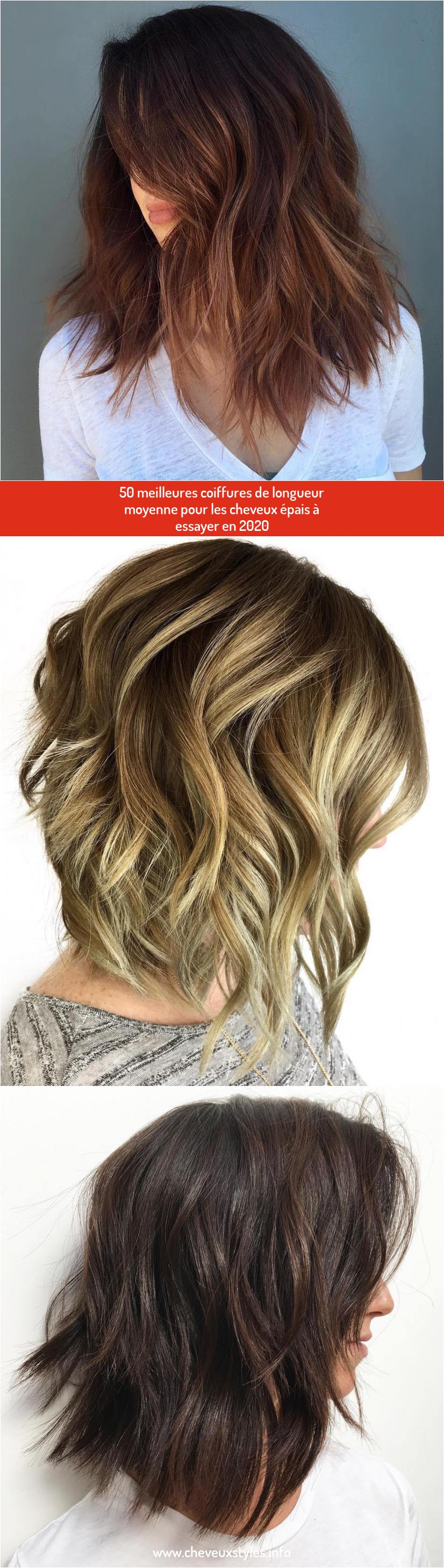 50 Meilleures Coiffures De Longueur Moyenne Pour Les Cheveux Epais A Essayer En 2020 Coiffures De Longueur Moyenne Style De Cheveux Cheveux Epais