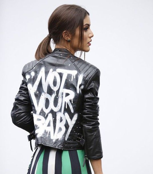 Jacket: tumblr black black leather leather customized quote on it striped skirt face makeup brunette