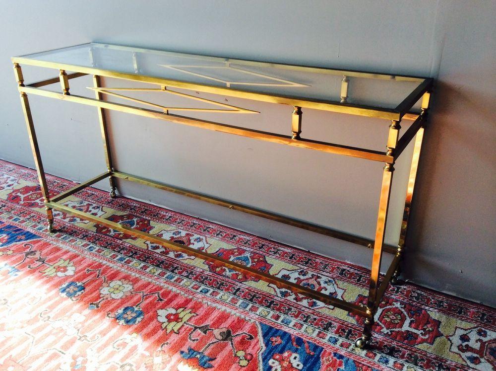 MAISON JANSEN ATTR. NEOCLASSICAL BRASS CONSOLE / sofa table #NeoClassical #MAISONJANSENATTRIBUTION
