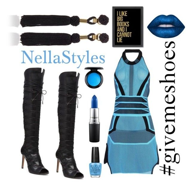 """""""Blueish Diva"""" by nellastyles on Polyvore featuring Vince Camuto, Alexander Wang, Elie Saab, MAC Cosmetics, OPI, Lime Crime and Americanflat"""
