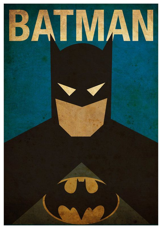 Minimalist Superheroes Vintage Poster Set Of 6 Prints Batman Superhelte Og Marvel