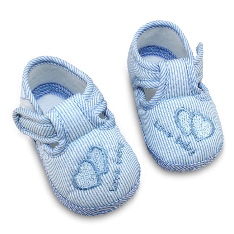 패션 봄 가을 아기 달콤한 스트라이프 미끄럼 방지 유아 신발 귀여운 먼저 워커 아기 소년