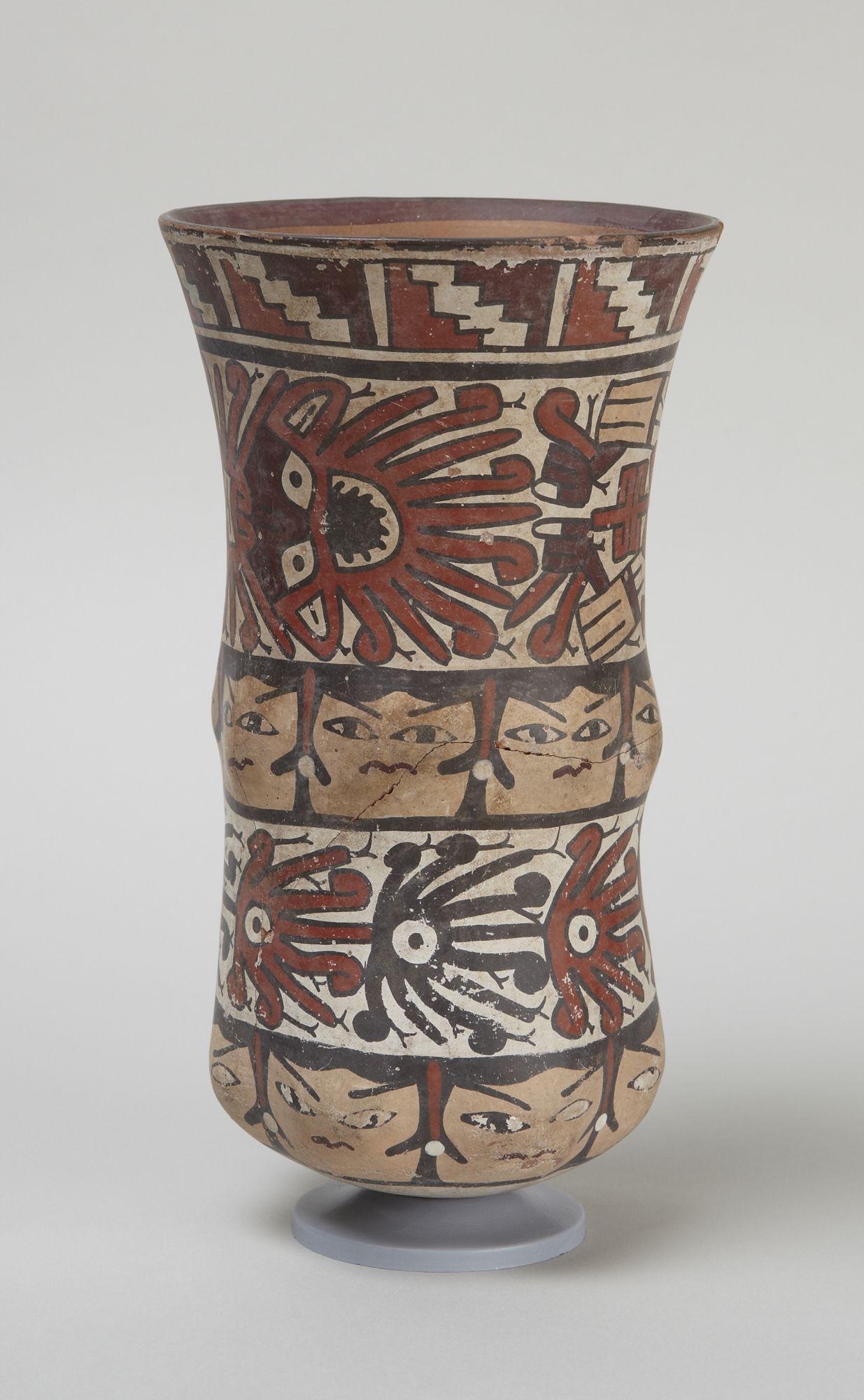 Early Intermediate, Nasca  Deep jar, 200 B.C.–A.D. 500  Ceramic with polychrome slip  h. 20.6 cm., diam. 11.6 cm. (8 1/8 x 4 9/16 in.)  Place made: South coast, Peru