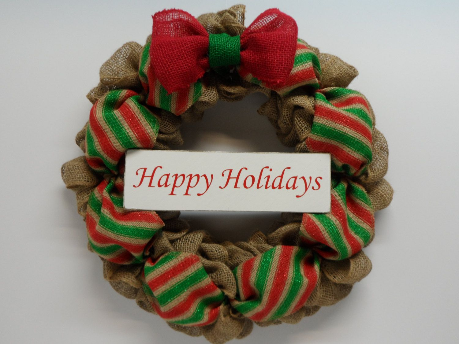 Christmas Burlap Wreath, Holiday Burlap Wreath, Happy Holidays Wreath, Happy Holidays Sign, Front Door Wreath, Natural Green and Red Burlap by BeautifulHomeAccents on Etsy
